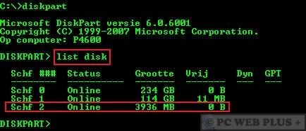 Windows 7 installatie vanaf een usb stick pc web plus - Verwijderbare partitie ...
