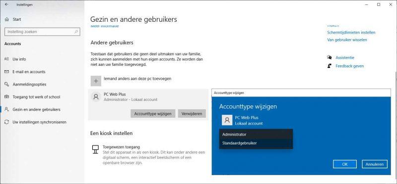 Accounttype wijzigen in Windows 10