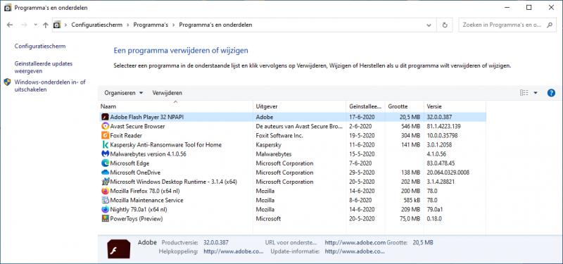 Verwijderinstructies Adobe Flash voor Windows