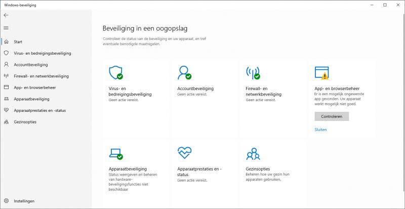 App- en browserbeheer meldingen sluiten