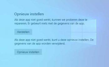 Apps herstellen of opnieuw instellen