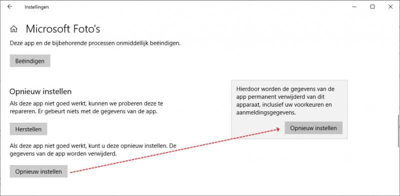 Apps herstellen of opnieuw instellen in Windows 10
