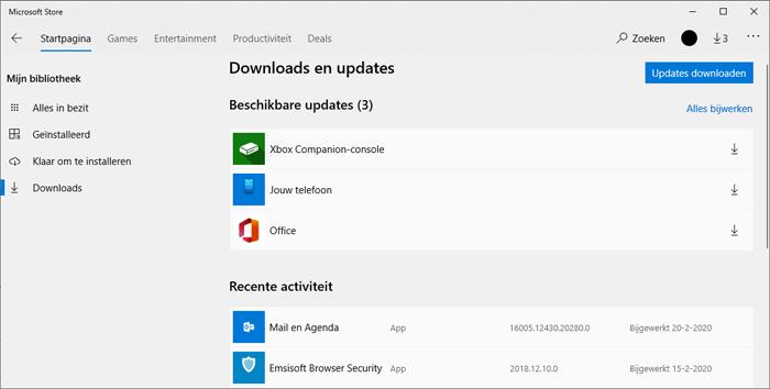 Apps updaten in Windows 10