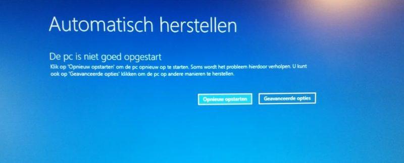 Automatisch herstellen - De PC is niet goed opgestart
