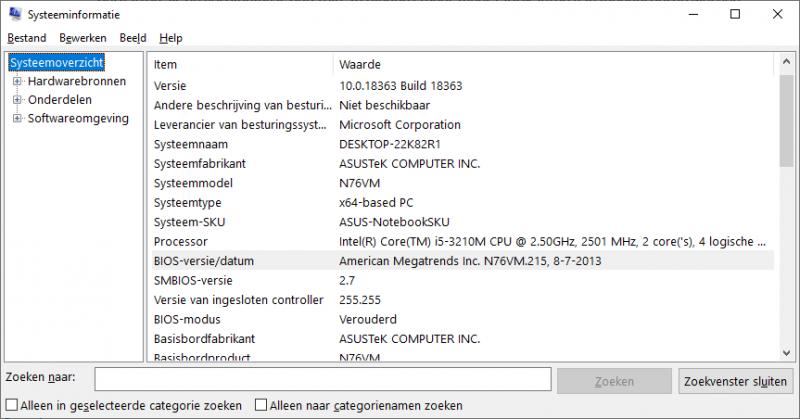 BIOS en UEFI versie controleren via MSInfo