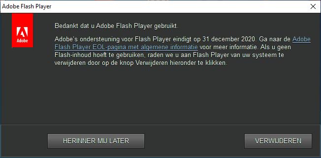 Bedankt dat u Adobe Flash Player gebruikt