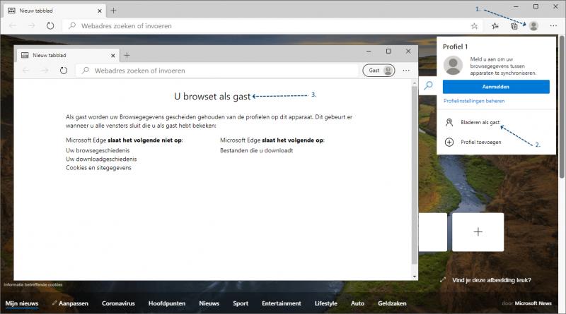 Bladeren als gast in Microsoft Edge Chromium