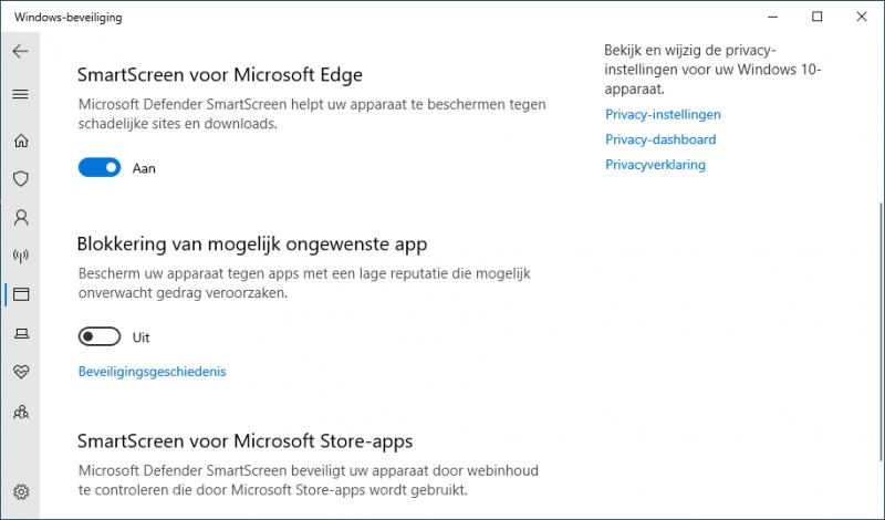 Blokkering van mogelijk ongwenste apps inschakelen
