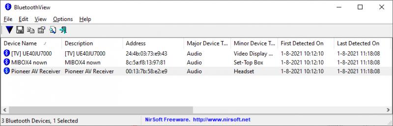 Bluetooth-apparaten monitoren met BluetoothView