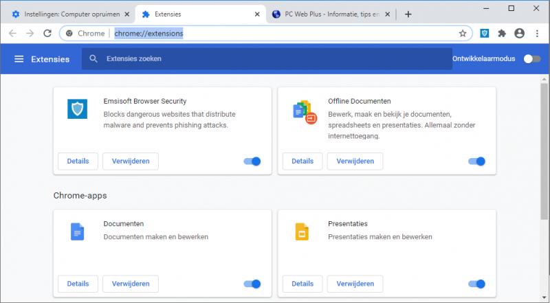 Browserextensies uitschakelen of verwijderen