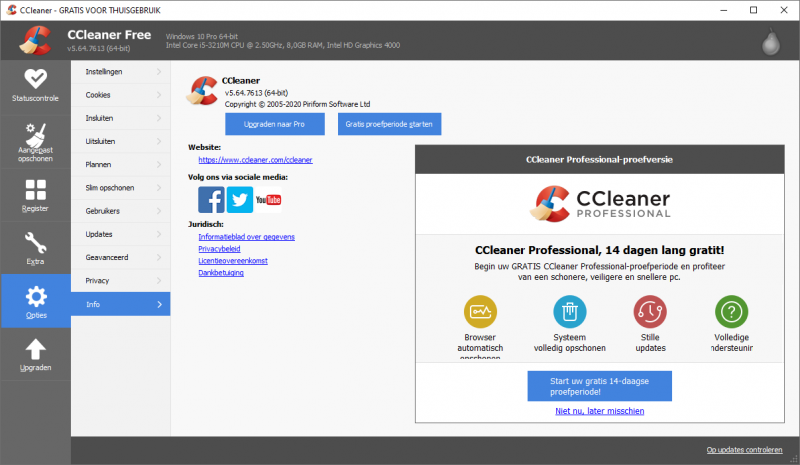 CCleaner gratis proefperiode
