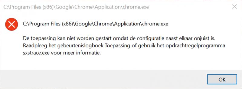 Chrome.exe De toepassing kan niet worden gestart