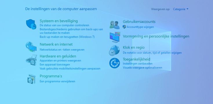 Configuratiescherm Windows 10 verdwijnt langzamerhand