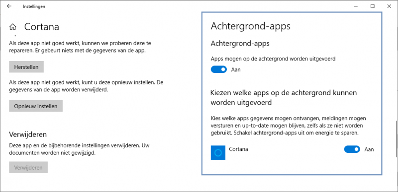 Cortana uitschakelen in Windows 10