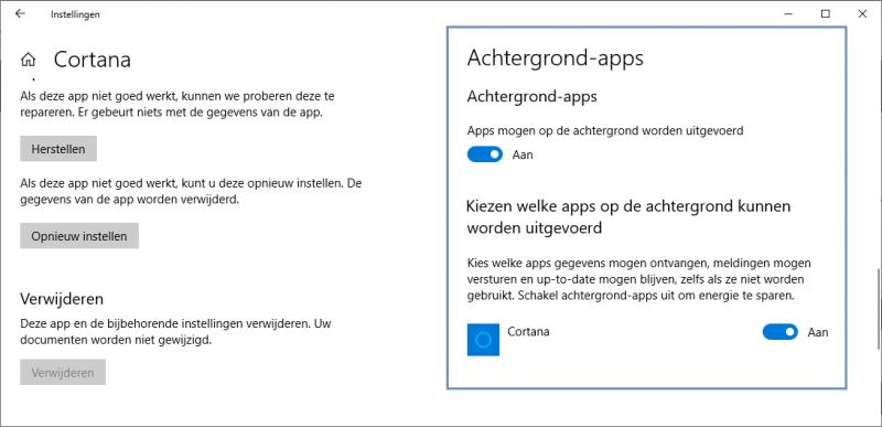Cortana uitschakelen in Windows 10