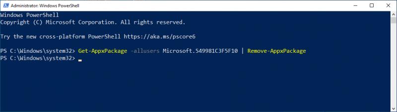 Cortana verwijderen via PowerShell