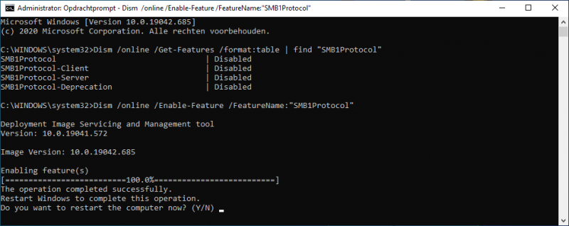 DISM SMB1Protocol inschakelen in Windows 10