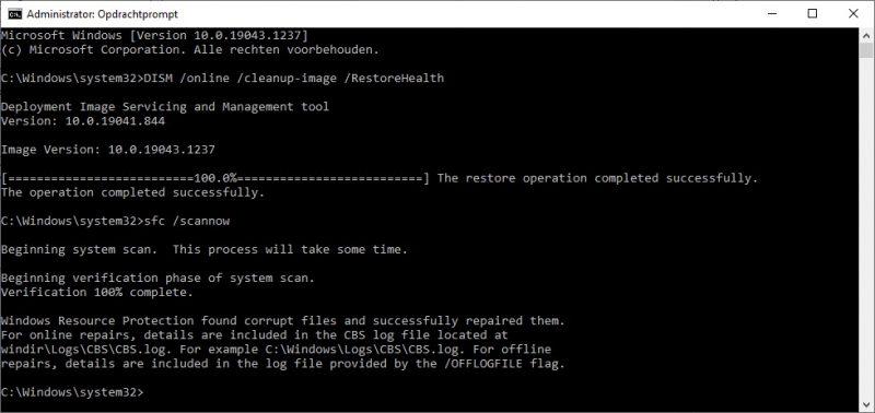 DISM en SFC Scannow uitvoeren in Windows 10