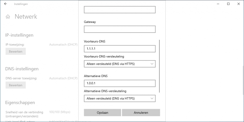 DNS via HTTPS inschakelen in Windows 10
