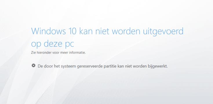 De door het systeem gereserveerde partitie kan niet worden bijgewerkt in Windows 10