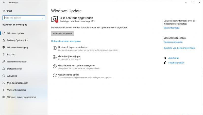 De installatie kan niet worden voltooid om een updateservice is afgesloten