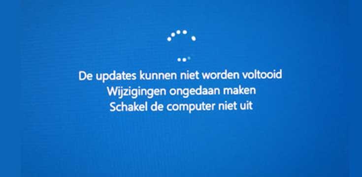 De updates kunnen niet worden voltooid, wijzigingen ongedaan maken. Schakel de computer niet uit