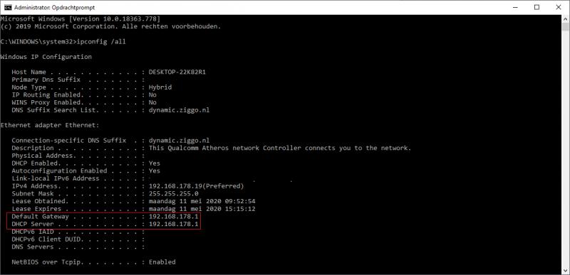 Default Gateway IP-adres van de modem of router