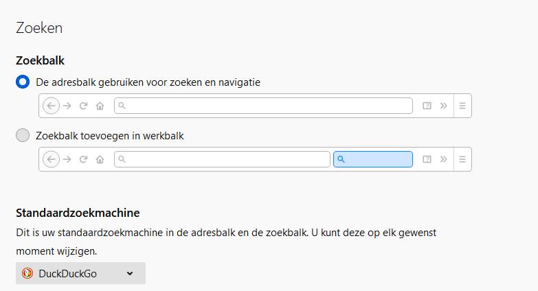 Zoekmachine DuckDuckGo instellen in Firefox