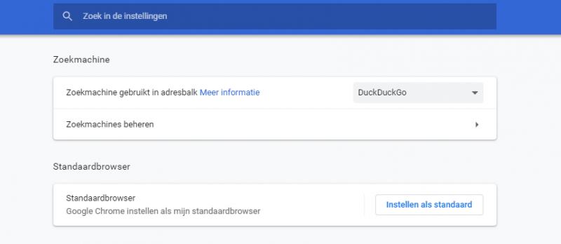DuckDuckGo instellen als Zoekmachine in Google Chrome