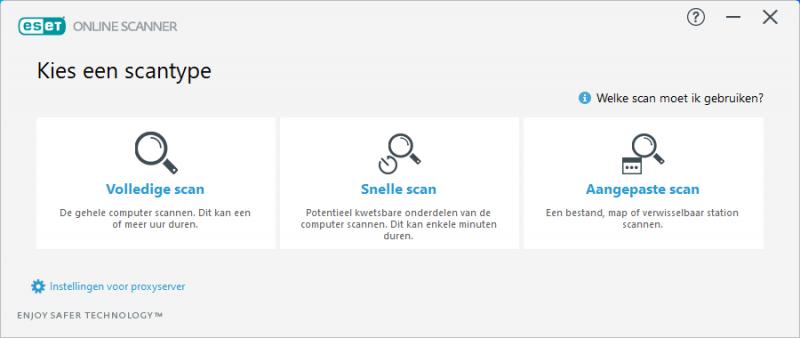 ESET Online Scanner Scantype