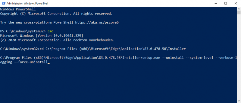 Edge denstalleren via PowerShell