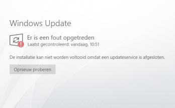 Er is een fout opgetreden - een updateservice is afgesloten