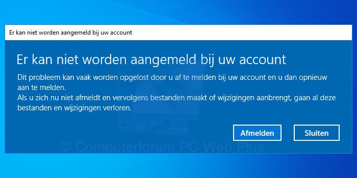 Er kan niet worden aangemeld bij uw account