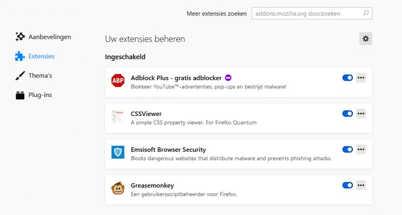 Extensies uitschakelen in Firefox