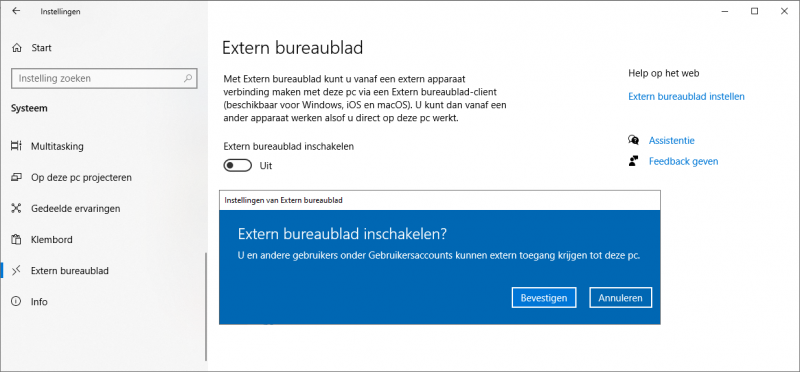 Extern bureaublad inschakelen Windows 10 Pro