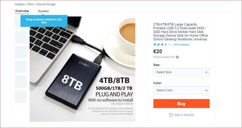Fake SSD Chinese webwinkel