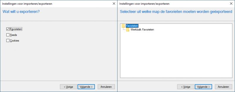 Favorieten exporteren Internet Explorer