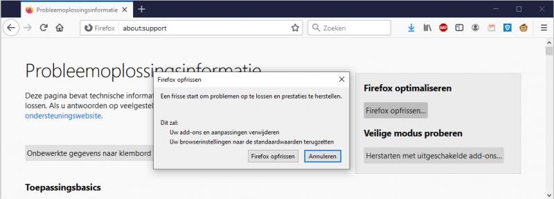 Firefox opfrissen
