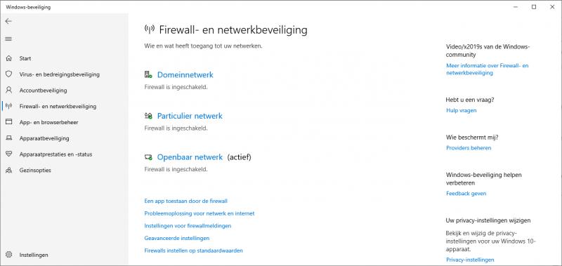 Firewall- en netwerkbeveiliging in Windows 10