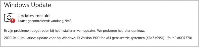 Foutcode 0x80073701 Cumulatieve Update