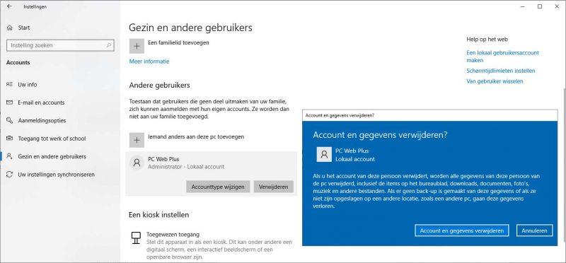 Gebruikersaccount verwijderen in Windows 10