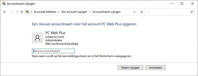 Gebruikersnaam wijzigen in Windows 10