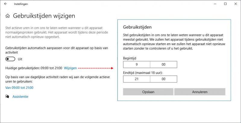 Gebruikstijden wijzigen in Windows 10