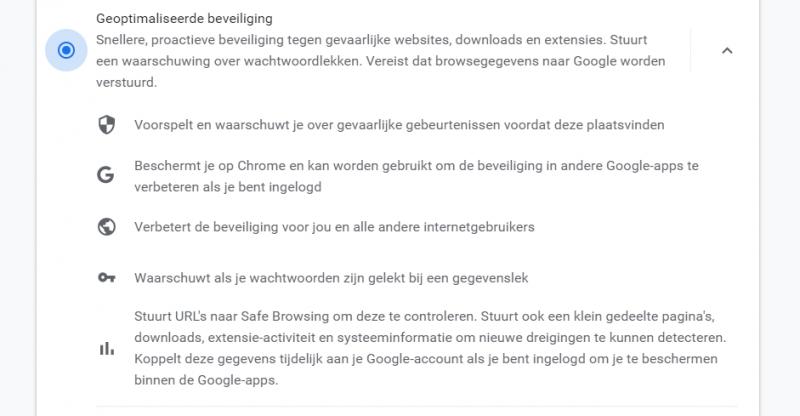 Google Chrome Geoptimaliseerde beveiliging