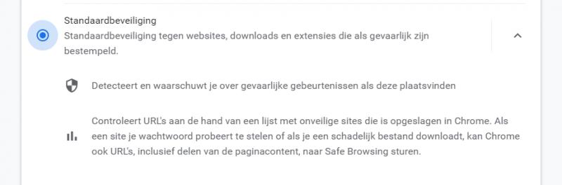 Google Chrome Standaardbeveiliging