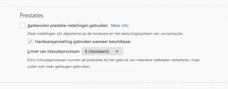 Inhoudsprocessen verminderen in Firefox