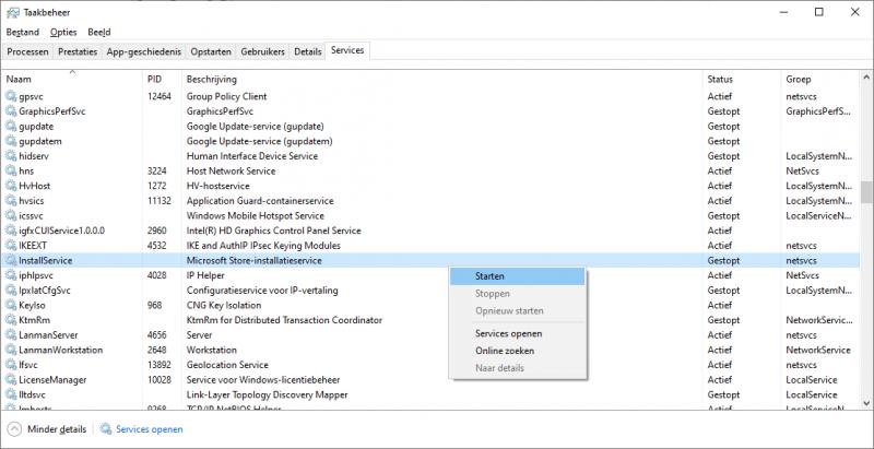 InstallService starten via Taakbeheer