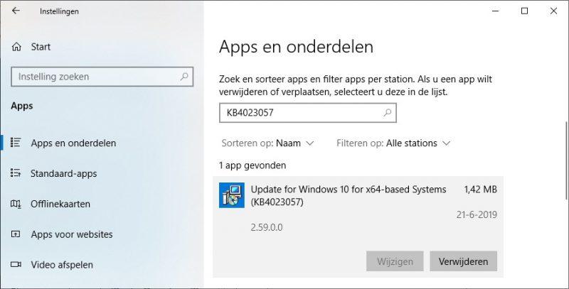 KB4023057 verwijderen in Windows 10