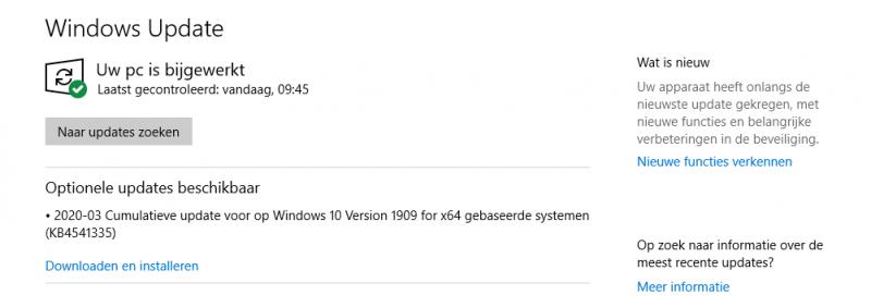Optionele update Windows 10 (KB4541335)