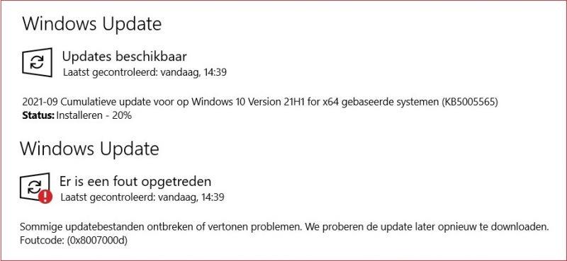 KB5005565 niet te installeren